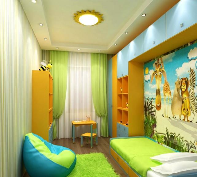 Натяжные потолки для детской 12 кв.м. двухуровневый